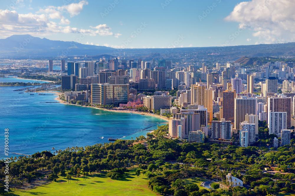 Fototapeta Spectacular view of Honolulu city
