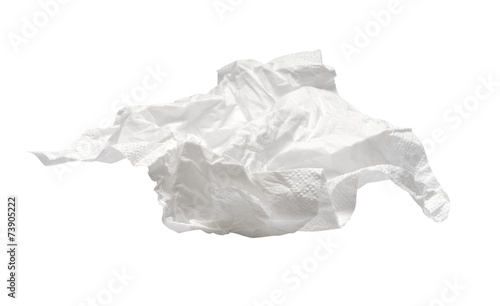 Canvas Print used napkin isolated on white. With clipping path