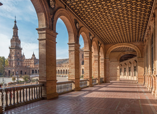 Photo  Seville - The portico of Plaza de Espana square
