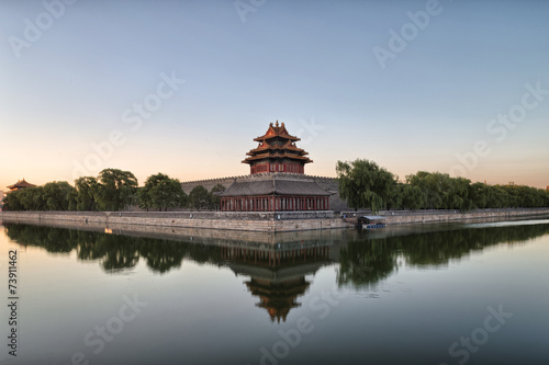 In de dag China moat and watchtower of imperial palace in Beijign, china