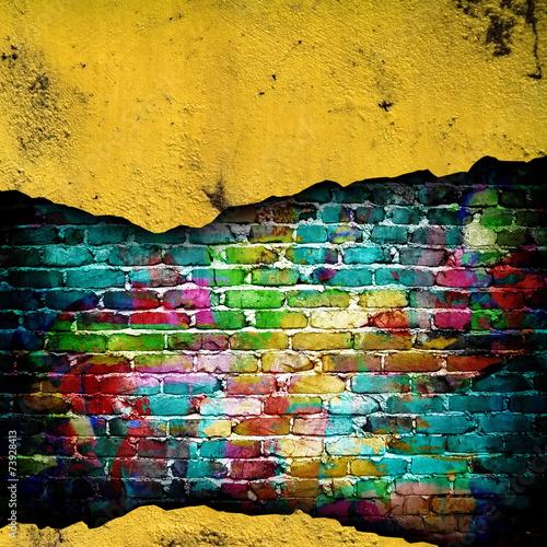 Foto op Plexiglas Wand cracked brick wall