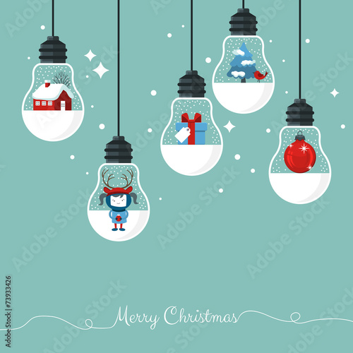 Printed kitchen splashbacks Illustrations Modern Christmas greeting card with hanging light bulbs