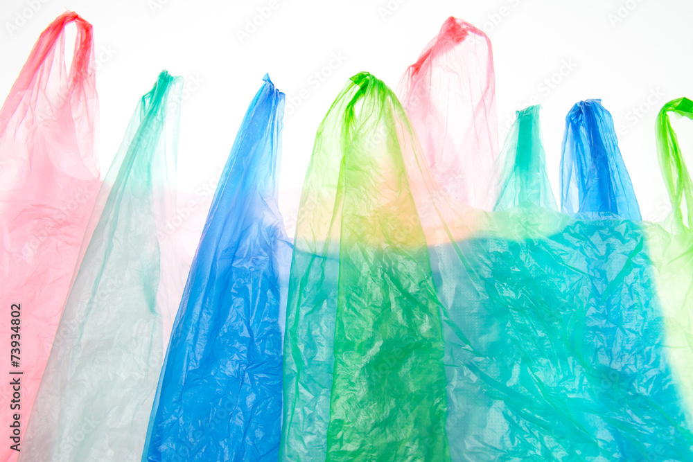 Fototapeta Plastic bags on white background