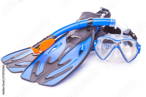 Papiers peints Plongée Blue diving goggles,snorkel and flippers. isolated