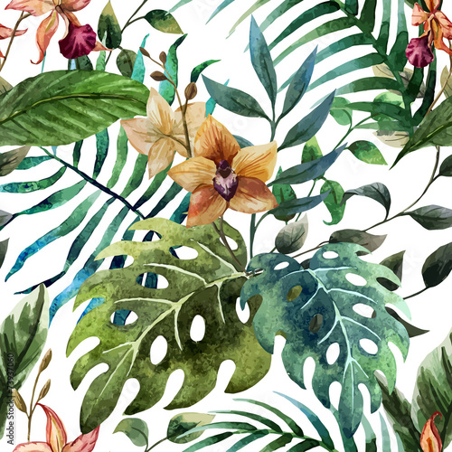 Fototapeta Tropikalne kwiaty i liście na białym tle ścienna
