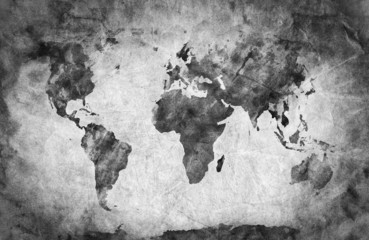 FototapetaAncient, old world map. A sketch, grunge vintage background
