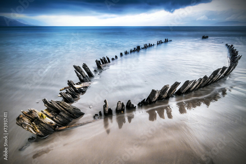 Photo sur Toile Naufrage The Sunbeam ship wreck on the beach in Co. Kerry, Ireland