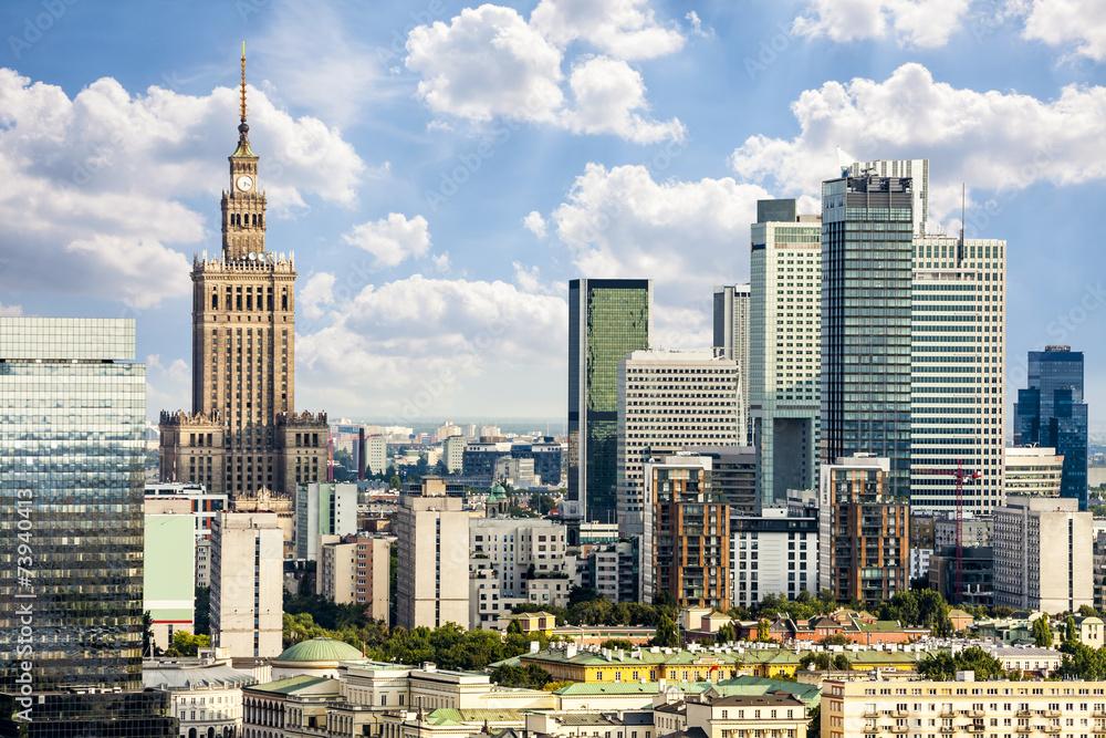 Fototapety, obrazy: Centrum Warszawy z Pałecame Kultury i Nauki