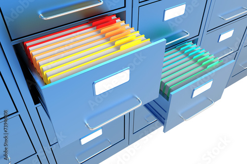 Obraz na plátně Folders in the file cabinet
