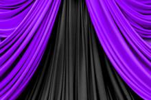 Purple And Black Curtain On St...