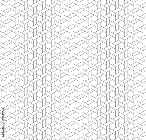 Fotografiet  Black and white geometric seamless pattern with weave style.