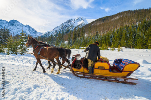 Horse sleigh to Morskie Oko lake in winter, Tatra Mountains