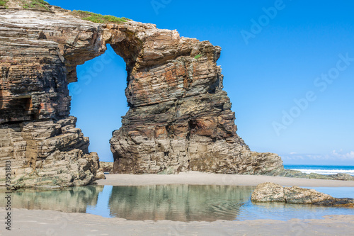 Famous Spanish destination, Cathedrals beach (playa de las cated