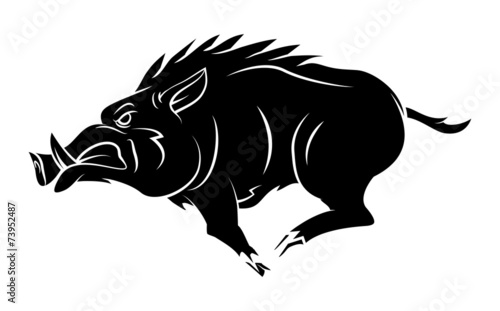 Wild Boar Tattoo Mascot Wallpaper Mural