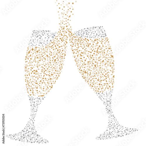 Fotografie, Obraz  Champagne Glasses of bubbles