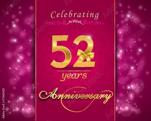 Fotografia  52 year anniversary celebration sparkling card
