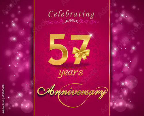 Photo  57 year celebration sparkling card, 57th anniversary