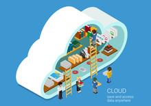 Flat Design Web Cloud Services...