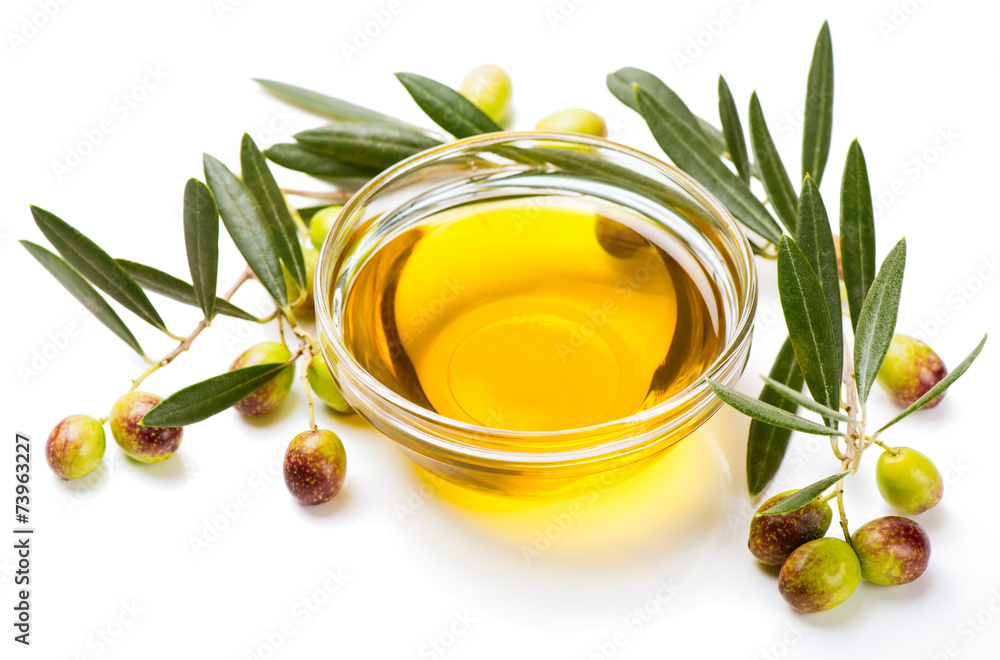 Fototapety, obrazy: Olive oil and olive fruits
