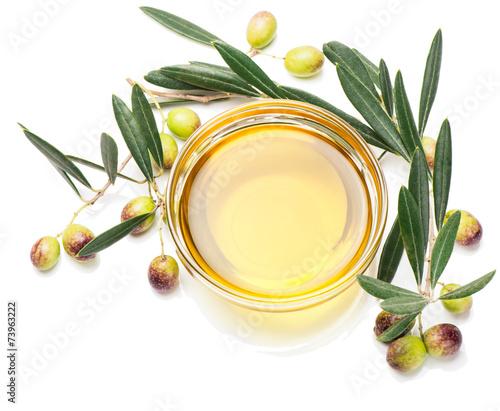 Fototapeta Olive oil and olive fruits obraz