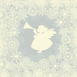 Christmas card with snowflake and angel with trumpet