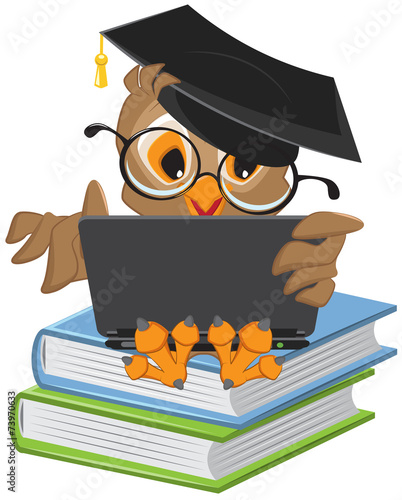 Poster Uilen cartoon Owl sitting on books and holding a laptop