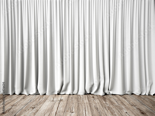 White curtains and wood floor Fototapete