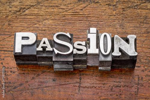 Fotografie, Obraz  passion word in metal type