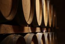 Oak Wooden Barrels Texture Closeup. Wine Beer Whiskey Barrel Close-up. Alcohol In Barrels