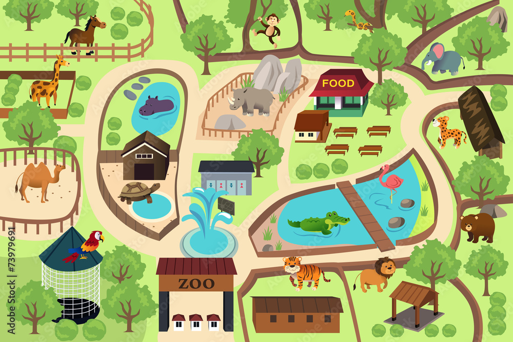 Fototapeta Map of a zoo park