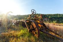 Antique Farm Equipment At Sunr...