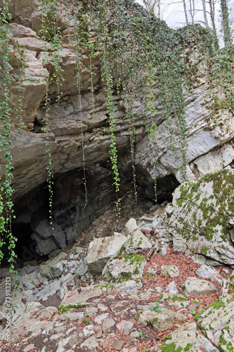 Fototapeten Forest river The entrance to Vorontsovskaya cave, Sochi