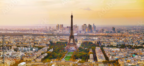Spoed Foto op Canvas Parijs Aerial view of Paris