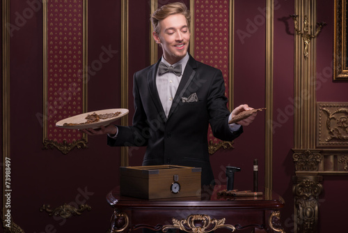 Handsome man with cigar Wallpaper Mural