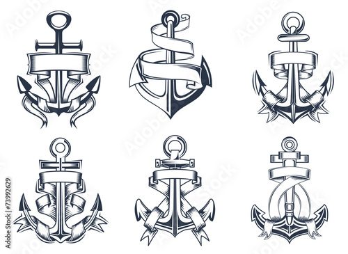 Fotografia, Obraz Marine themed ships anchor icons with ribbons