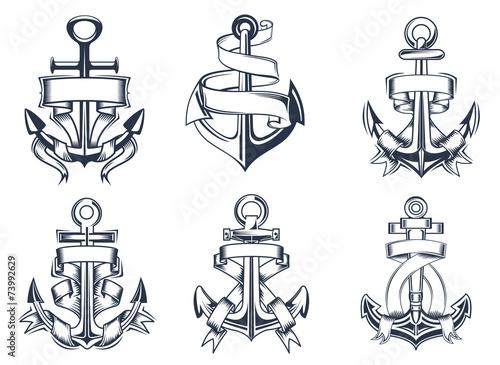 Obraz na płótnie Marine themed ships anchor icons with ribbons