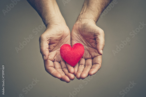 Fotografia  old hands of the elderly giving a red heart