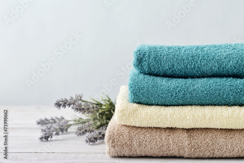 Fotografie, Obraz  Stack of bath towels