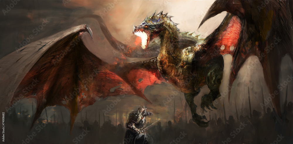Fototapeta knight fighting dragon