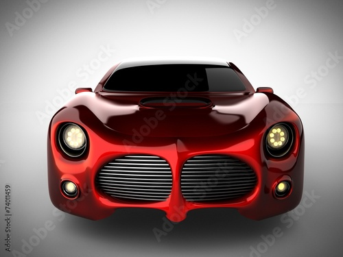 Poster Vintage voitures red luxury brandless sport car on white background