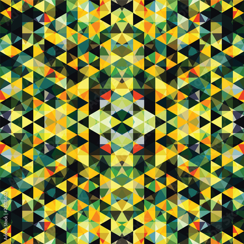 Fotografie, Obraz  Triangular Mosaic Colorful Background. Abstract Rasta DogŒ.