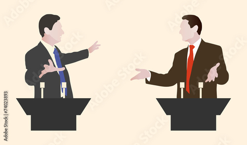 Debate two speakers. Political speeches debates Wallpaper Mural