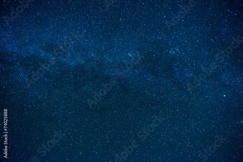 Plakat Błękitny ciemny nocne niebo z wiele gwiazdami