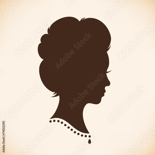 Photographie  Retro woman head silhouette. Vector Isolated woman half face