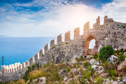 The wall of an ancient fortress on the hill in Alanya, Turkey Wallpaper Mural
