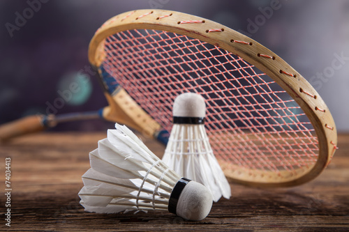 Fotografie, Obraz  A set of badminton. Paddle and the shuttlecock.