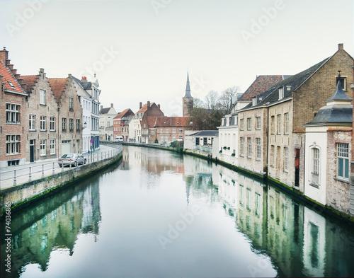 In de dag Brugge Medieval channel in Bruges, Belgium