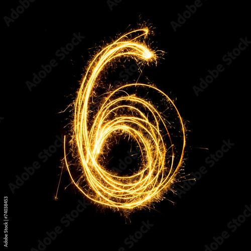 Poster  Sparkler firework light alphabet number 6.