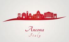 Ancona Skyline In Red