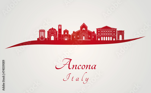 Ancona skyline in red Wallpaper Mural
